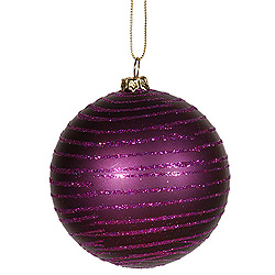 4 Inch Plum Matte Glitter Round Shatterproof UV Christmas Ball Ornament 4 per Set