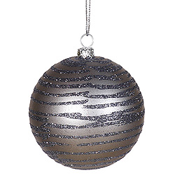 4 Inch Pewter Matte Glitter Round Shatterproof UV Christmas Ball Ornament 4 per Set