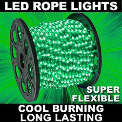 150 Foot LED True Green Mini Rope Lights 3 Foot Increment