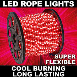 150 Foot LED Red Mini Rope Lights 3 Foot Increment