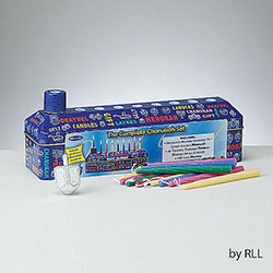 The Complete Chanukah Kit Tin Chanukah Menorah With Candles And Draydels Included Box of 3