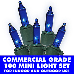 100 Commercial Grade Blue Christmas Lights Green Wire