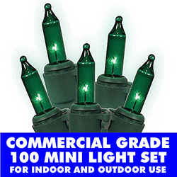 100 Commercial Grade Green Christmas Lights Green Wire