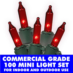 100 Commercial Grade Red Valentines Day Lights Green Wire