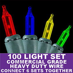 100 Commercial Grade Multi Extra Long Christmas Lights Green Wire