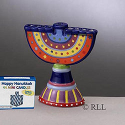 Ceramic Mini Chanukah Menorah Includes Candles Box of 3