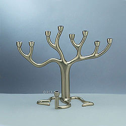 Medium Tree Of Life Chanukah Menorah Brushed Nickel Finish