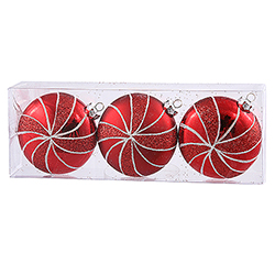 3.75 Inch Red Peppermint Candy Round Christmas Ornament