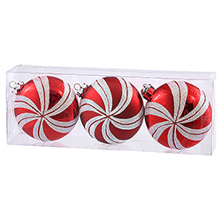 3.75 Inch Red Candy Cane Round Christmas Ornament