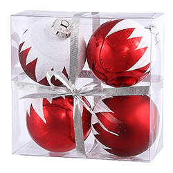 3 Inch Red Snow Cap Round Christmas Ball Ornament