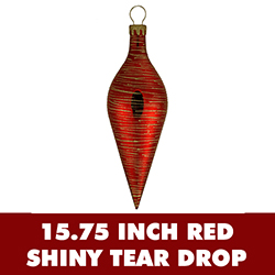 15.75 Inch Red Shiny with Glitter Teardrop Shatterproof Christmas Ornament
