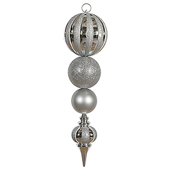 28.75 Inch Silver Multi Finish Calabash Christmas Ornament Set Of 3