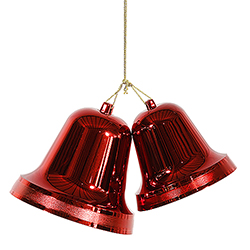 12 Inch Red Shiny Double Bell Ornament