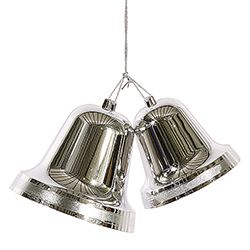 12 Inch Silver Shiny Double Bell Ornament