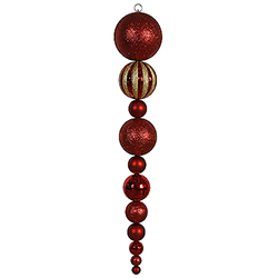 Jumbo 55 Inch Red Shiny Matte Ball Drop Ornament
