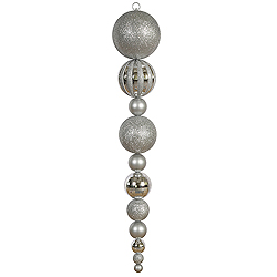 Jumbo 55 Inch Silver Shiny And Matte Ball Drop Ornament