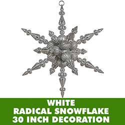 30 Inch White 3 Finish Jumbo Radical Snowflake