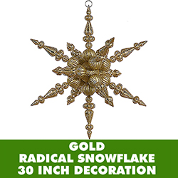 30 Inch Gold 3 Finish Jumbo Radical Snowflake