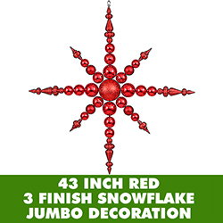 43 Inch Red 3 Finish Jumbo Snowflake