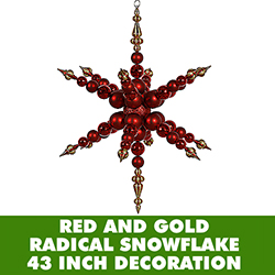 43 Inch Red And Gold 3 Finish Jumbo Radical Snowflake