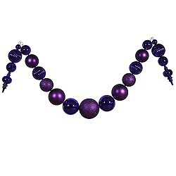 14 Foot Purple Shiny And Matte Ball Garland