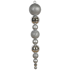 Jumbo 44 Inch Silver Shiny/Matte Ball Drop Ornament