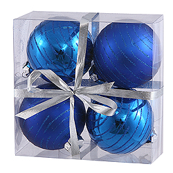 3 Inch Blue Glitter Round Shatterproof UV Christmas Ball Ornament 4 per Set