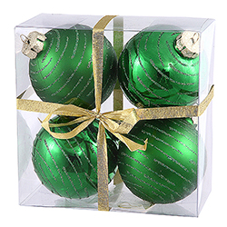 3 Inch Green Glitter Ornament 4 per Set