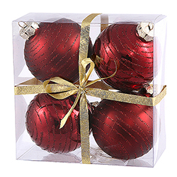 3 Inch Burgundy Glitter Ornament 4 per Set