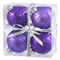 3 Inch Purple Glitter Ornament 4 per Set