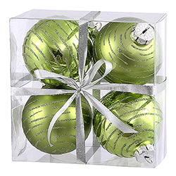 3 Inch Lime Glitter Ornament 4 per Set
