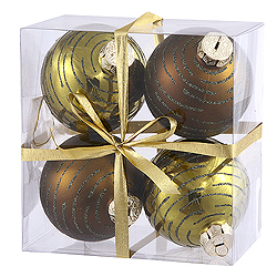 3 Inch Olive Glitter Assorted Finishes Round Christmas Ball Ornament 4 per Set