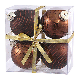 3 Inch Chocolate Glitter Ornament 4 per Set