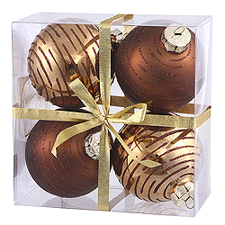 3 Inch Mocha Glitter Assorted Finishes Round Christmas Ball Ornament 4 per Set