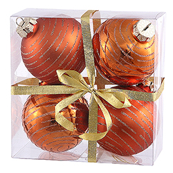 3 Inch Burnish Orange Glitter Ornament 4 per Set