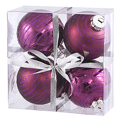 3 Inch Plum Glitter Ornament 4 per Set