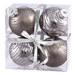 3 Inch Pewter Glitter Ornament 4 per Set