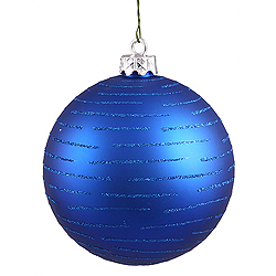 120MM Blue Glitter Round Ornament Assorted Finishes 2 per Set