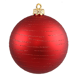 120MM Red Glitter Round Ornament Assorted Finishes 2 per Set