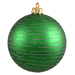 120MM Green Glitter Round Ornament Assorted Finishes 2 per Set