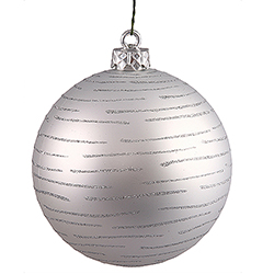 120MM Silver Glitter Round Ornament Assorted Finishes 2 per Set