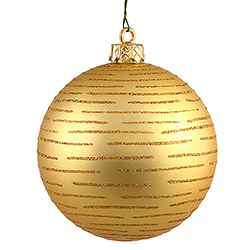 120MM Gold Glitter Round Ornament Assorted Finishes 2 per Set