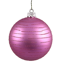 120MM Orchid Pink Glitter Round Ornament Assorted Finishes 2 per Set