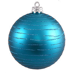 4.75 Inch Turquoise Glitter Assorted Finishes Round Christmas Ball Ornament 2 per Set