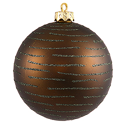 120MM Olive Glitter Round Ornament Assorted Finishes 2 per Set