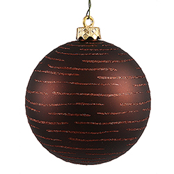 120MM Chocolate Glitter Round Ornament Assorted Finishes 2 per Set