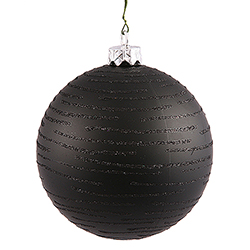 120MM Black Glitter Round Ornament Assorted Finishes 2 per Set