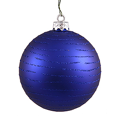 120MM Cobalt Blue Glitter Round Ornament Assorted Finishes 2 per Set