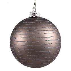 120MM Pewter Glitter Round Ornament Assorted Finishes 2 per Set