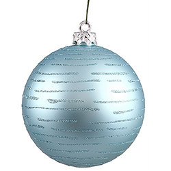 120MM Baby Blue Glitter Round Ornament Assorted Finishes 2 per Set